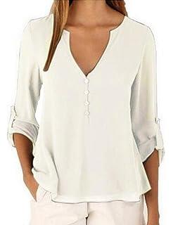 9b5a152362516 Landove Chemise en Mousseline de Soie Tee Shirt Uni Femme Col V Lâche Tunique  Manches…