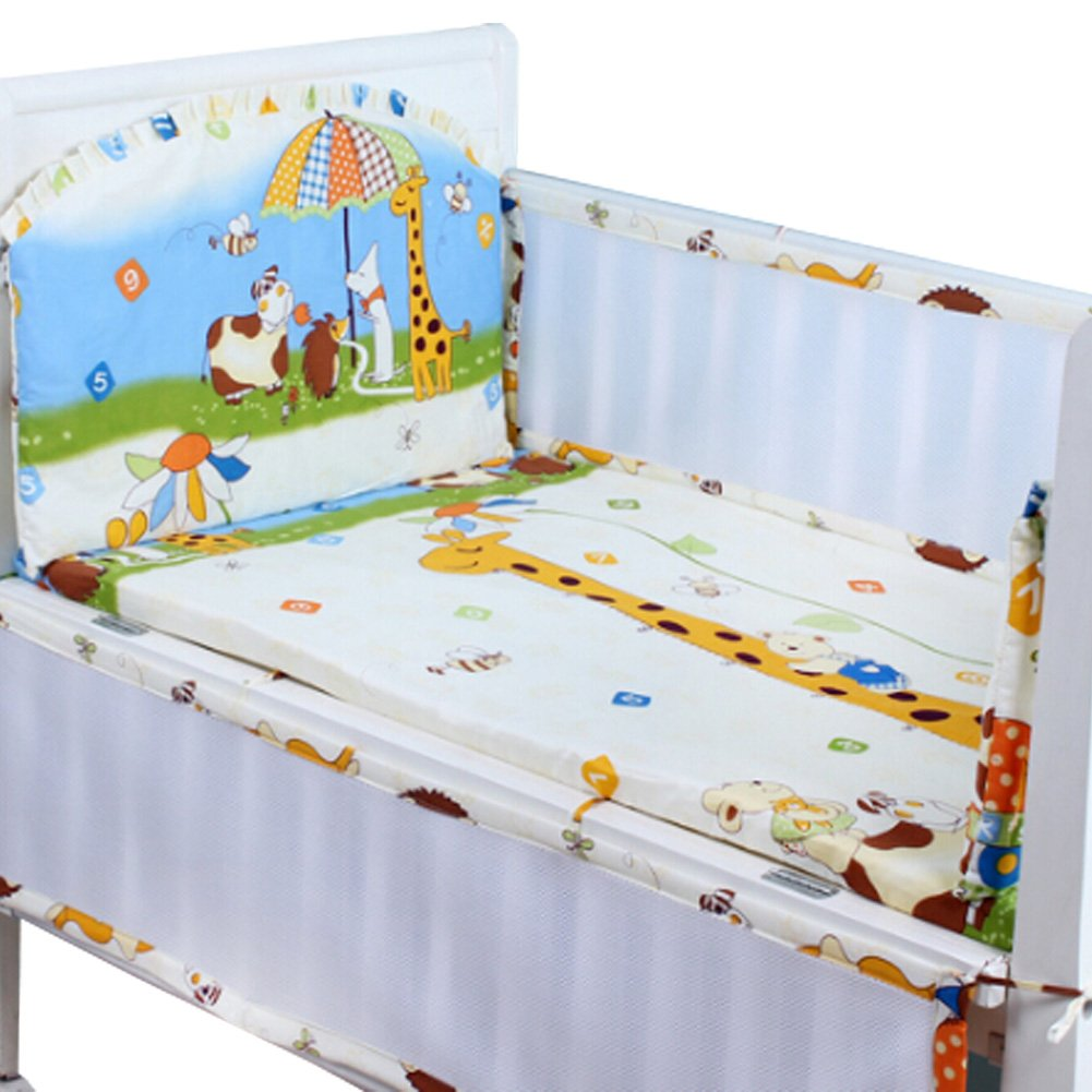 Set of 4 Nursery Baby bassinet/Crib Bedding Bumper Kids Safety Cushion Animals