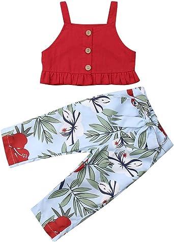 VISGOGO 1-6 Yrs Toddler Baby Kid Girl Outfit Halter T-Shirt Top Flared Pants Clothes Set