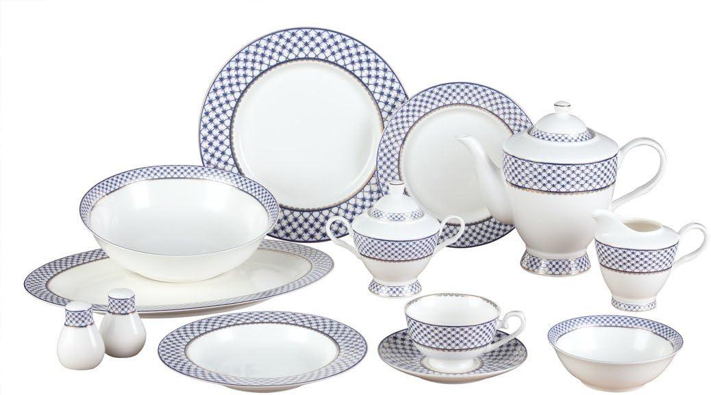 Royalty Porcelain 57-pc Banquet Dinnerware Set for 8, 24K Gold Premium Bone China (VILLA AZURE-57)