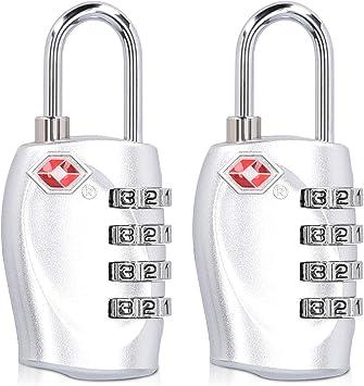 Plata candados de maleta con combinaci/ón de 3 d/ígitos Cerradura de seguridad aprobada para maletas y equipaje Candados para equipaje TSA