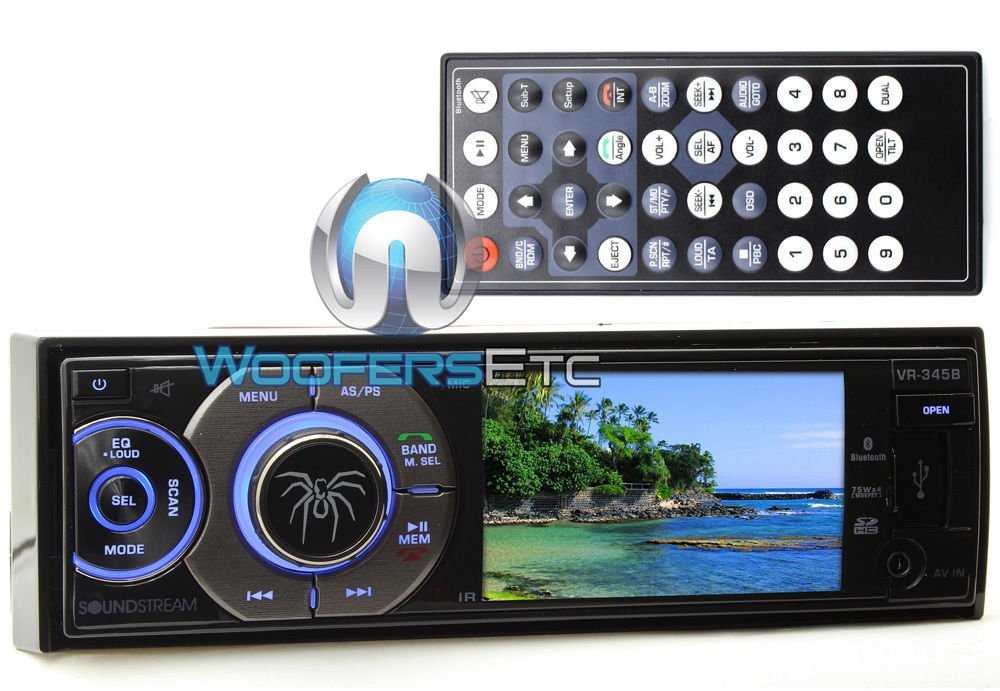 Soundstream VR-345B Single DIN A/V Source Unit with Detachable 3.4'' LCD Screen/Bluetooth by Soundstream