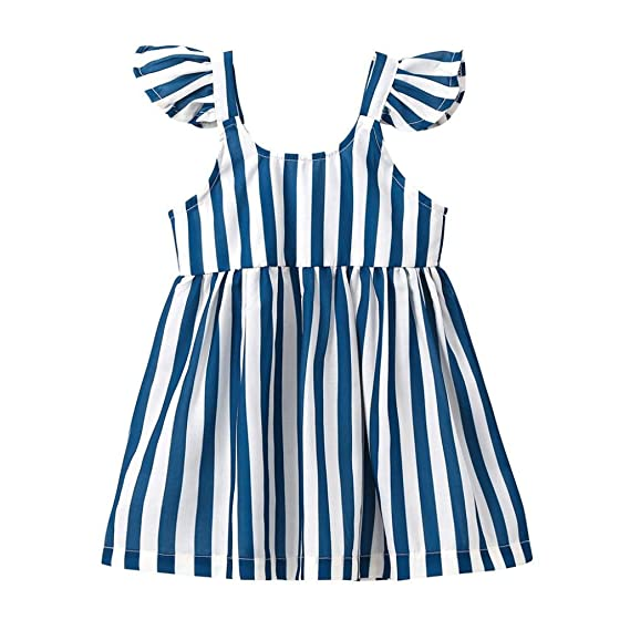 vestidos de niña, ASHOP Vestido camisero con rayas azules lindas vestidos de fiesta princesa niña Vestido de Tutú casual vestido de verano Ropa para 0-4 ...