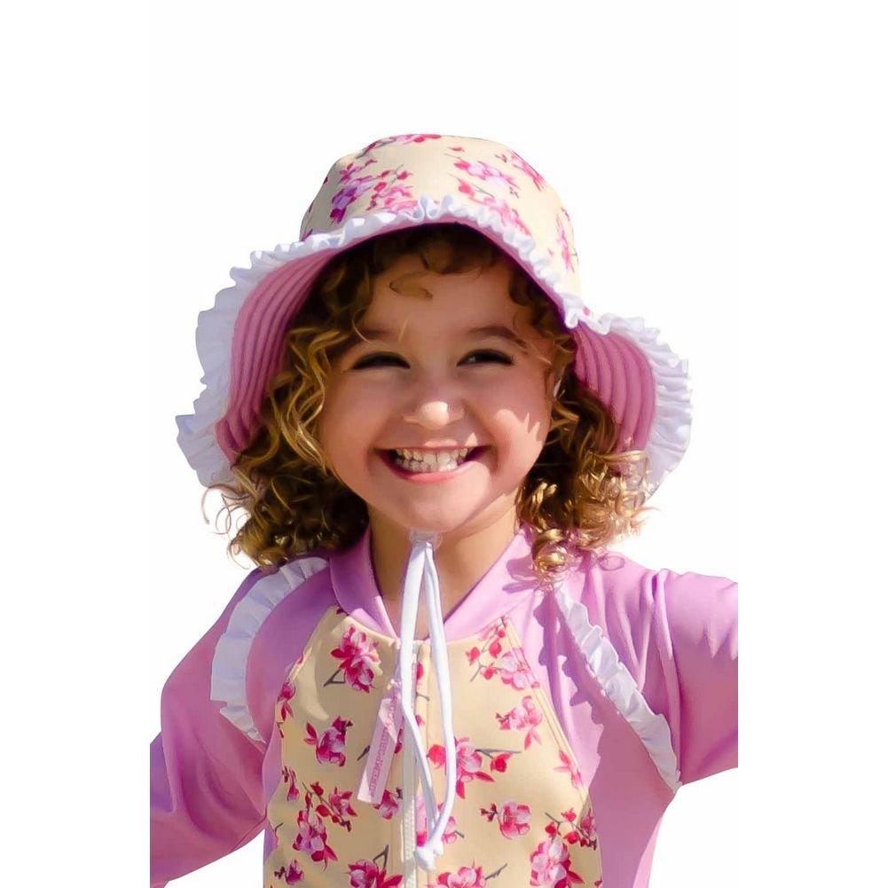 Sun Emporium Girls Yellow Pink Reversible Brim Frill Hat S