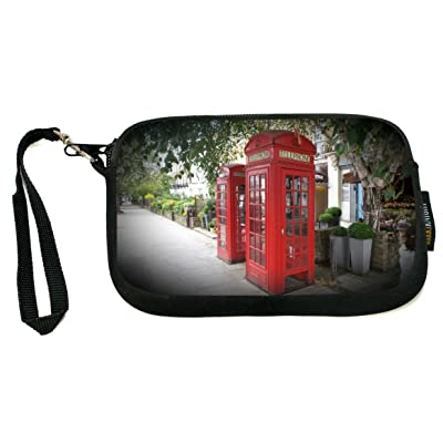 Rikki Knight British Phone Booth Scene - Neoprene Clutch Wristlet Coin Purse with Safety Closure - Ideal case for Cosmetics Case, Camera Case, Cell Phones, Passport, etc..