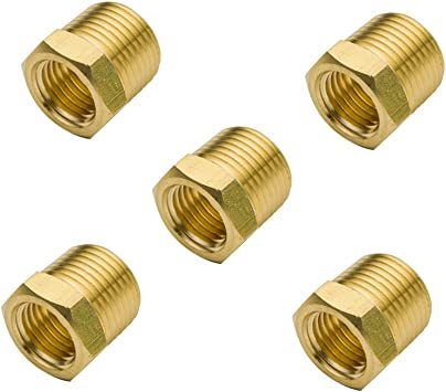Legines 3//4 NPT Male x 1//4 NPT Female Brass Pipe Fitting Pack of 2 Hex Bushing