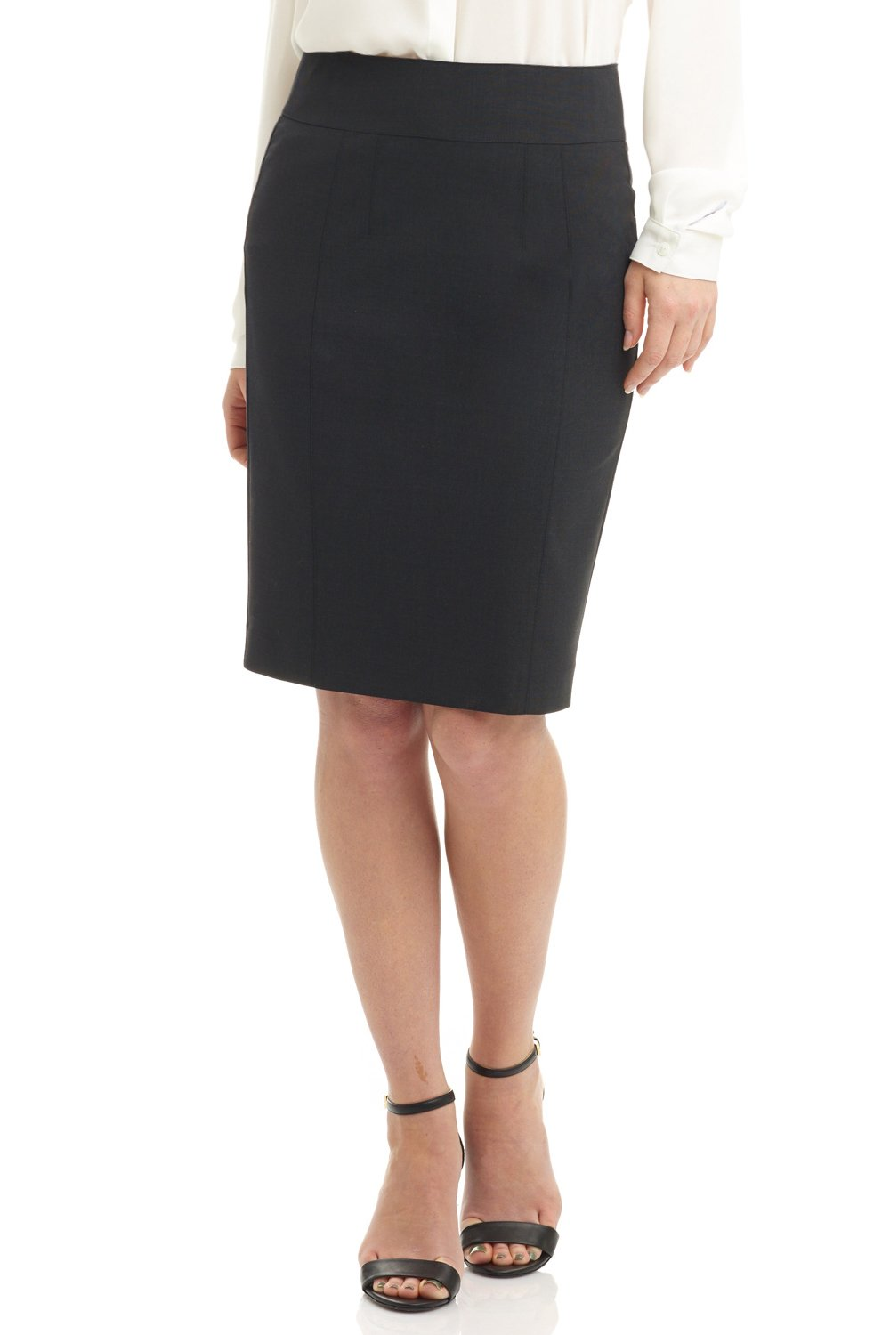 Rekucci Collection Women's Stretch Wool Pencil Skirt with Back Zip Detail (12,Charcoal)