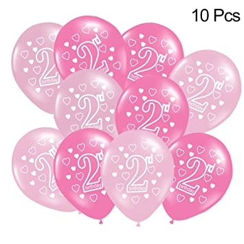 Prom Near 10 Pieces Baby 2 Years Old Happy Birthday Printed Latex Balloons Props For