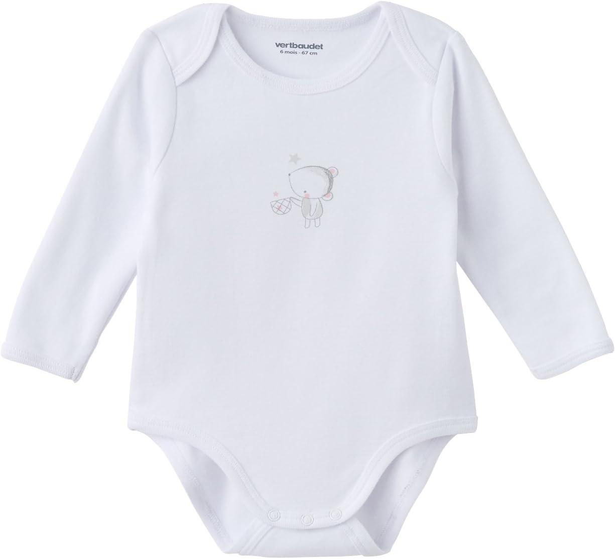 VERTBAUDET Lot de 3 bodies naissance pur coton blanc manches longues Blanc 1M 54CM