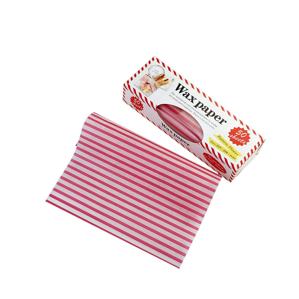 50 Pcs Fried Food Oil-Proof Papers Non-Stick Culinary Parchment Paper Pink Stripe Baking Papers Wax Paper Chinashow