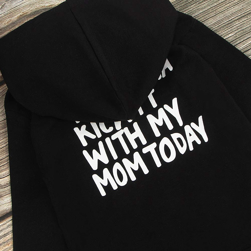 BAOBAOLAI Baby Boy Hooded Tops I Think I/'m Gonna Kick IT with My Mom Today Black Clothes