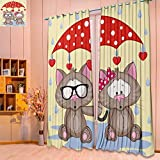 SeptSonne Design Print Grommet top Thermal Insulated greeting card two cats with umbrella Linen Room Darkening Curtains(W52 x L84 Pair)