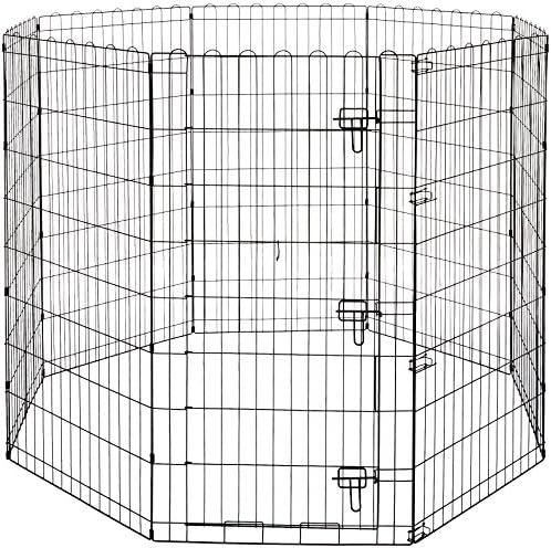 AmazonBasics - Parque de juegos y ejercicios para mascotas, paneles de valla metálica, plegable, 152,4 x 152,4 x 121,9 cm: Amazon.es: Productos para mascotas