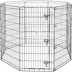 AmazonBasics Foldable Metal Pet Exercise and Playpen with Door, 48""