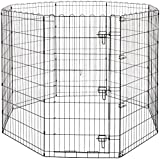AmazonBasics Foldable Metal Pet Exercise and Playpen with Door, 48″ For Sale