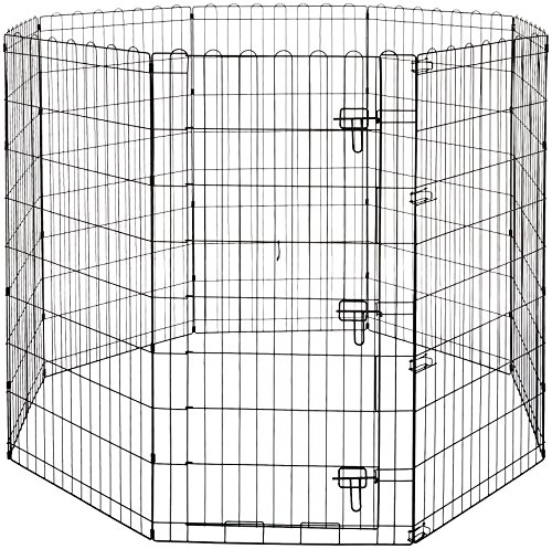 AmazonBasics Foldable Metal Pet Dog Exercise Fence Pen With Gate - 60 x 60 x 48 Inches