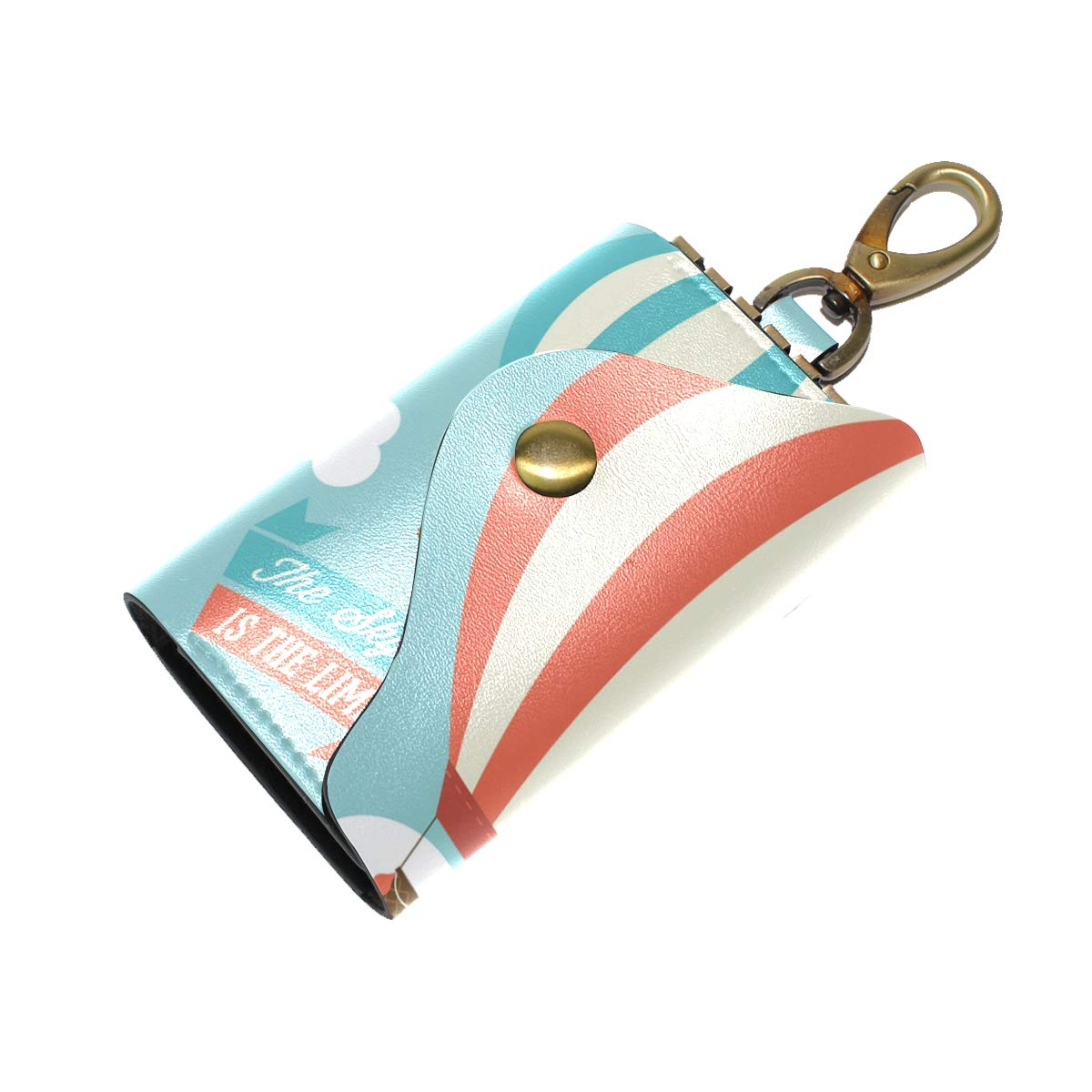 KEAKIA Hot Air Balloons Leather Key Case Wallets Tri-fold Key Holder Keychains with 6 Hooks 2 Slot Snap Closure for Men Women