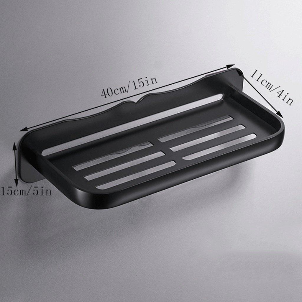YXN Space Aluminum Bathroom Rack Single Bathroom Cosmetics Black Metal Pendant Bathroom Corner Frame Without Nails (Size : 40cm)