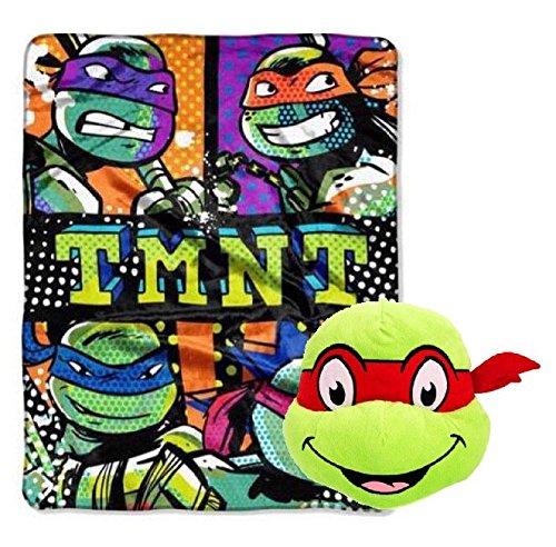 Teenage Mutant Ninja Turtles Plush Throw and Face Pillow Toy - Kids (Ninja Turtles Face)