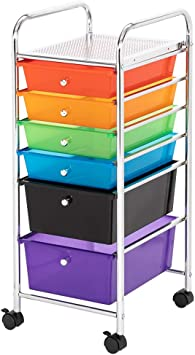 6 Drawer Rolling Storage Cart Tools Scrapbook Paper Office School Organizer US