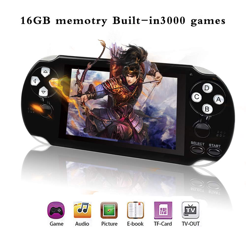 BAORUITENG Handheld Game Console , Retro Game Console with 3000 Classic Games 4.3'' 64 Bit Portable Game Console Support / Camera GBA / GBC / SEGA / NES / SFC / NEOGEO and Loss-Less Music(Black) by BAORUITENG (Image #1)