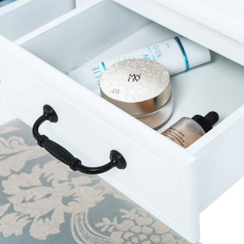 Generic Miroir Bedroomdesk avec Tabouret avec Tabouret Blanc Coiffeuse tiroirs et Table de Maquillage Miroir Ovale Chambre /à Coucher Blanc Dressi