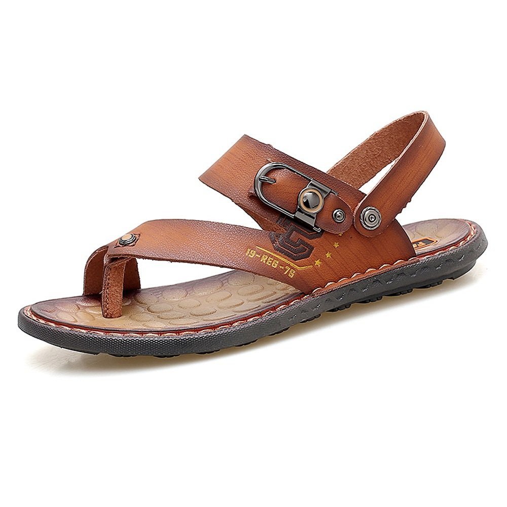Zapatillas de Playa de Cuero de imitación de los Hombres Chanclas Casuales Sandalias Planas Suaves Antideslizantes Zapatos sin Respaldo Ajustable 42 EU Marrón