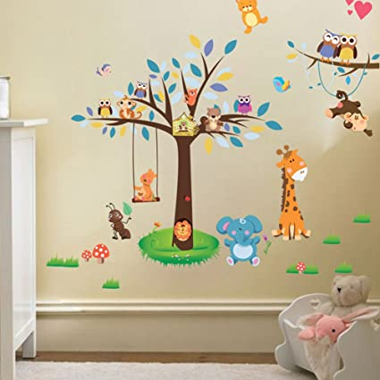 Wallpark cartone animato animale foresta parco gufi giraffa