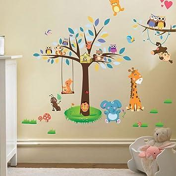 wallpark dibujos animados animal bosque parque bhos jirafa mono en azul rbol desmontable pegatinas