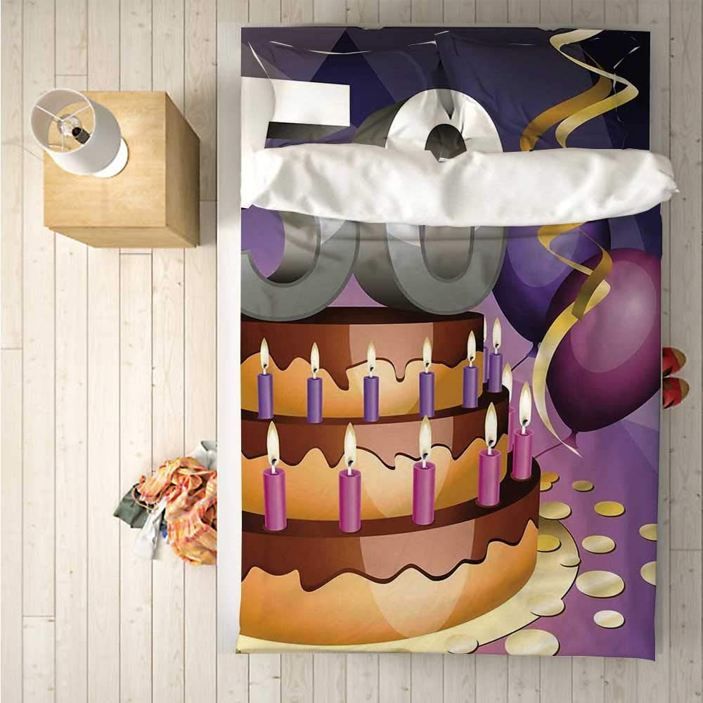 50th Birthday Decorations Soft 4 Piece Bedding Set,Creamy Cake with Many Candles and Numbers Balloons Ribbons for Bedroom,One Side Print : Singe