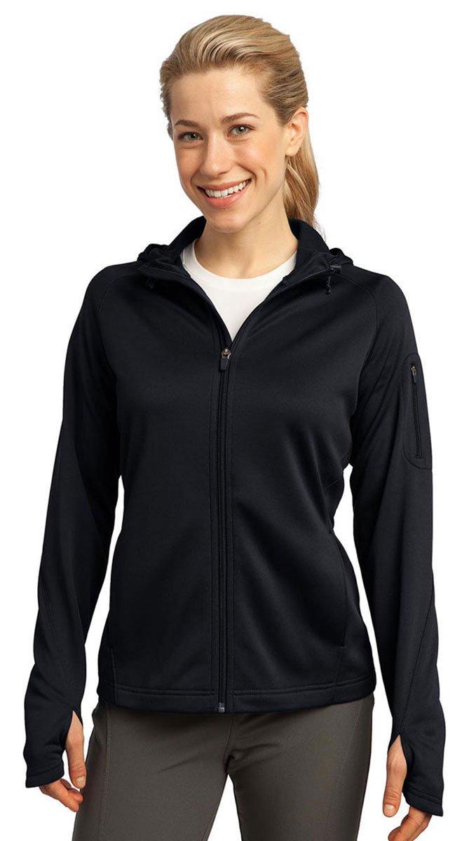 Sport-Tek Ladies Tech Fleece Full-Zip Hooded Jacket, XL, Black by Sport-Tek
