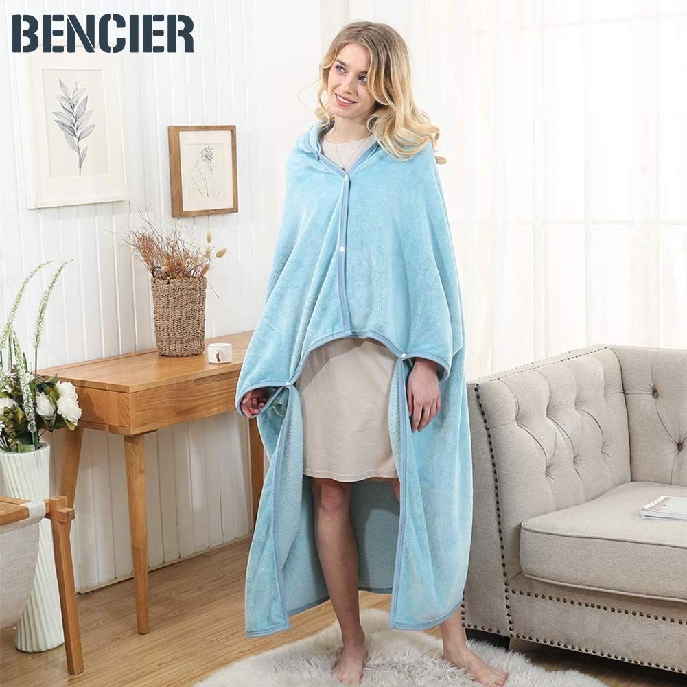 Bencier ソフト シャギー フラシ天 フード付き スローラップ - ウェアラブルブランケット ブルー  アイスブルー B07L4H8WMD