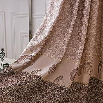 Uberlegen 2er Set Europäische Jacquard Braune Wohnzimmer Vorhänge, Blumen Luxus  Vorhänge Für Schlafzimmer(245x140cm