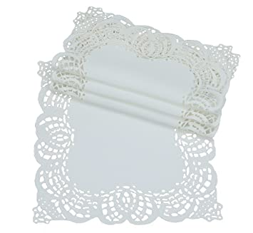 Set of 4 XD10181 12-Inch Xia Home Fashions Dainty Lace Square Doily Ivory