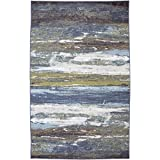 Mohawk Home Escape Abstract Shore Blue Spa Rug, 7'6x10'
