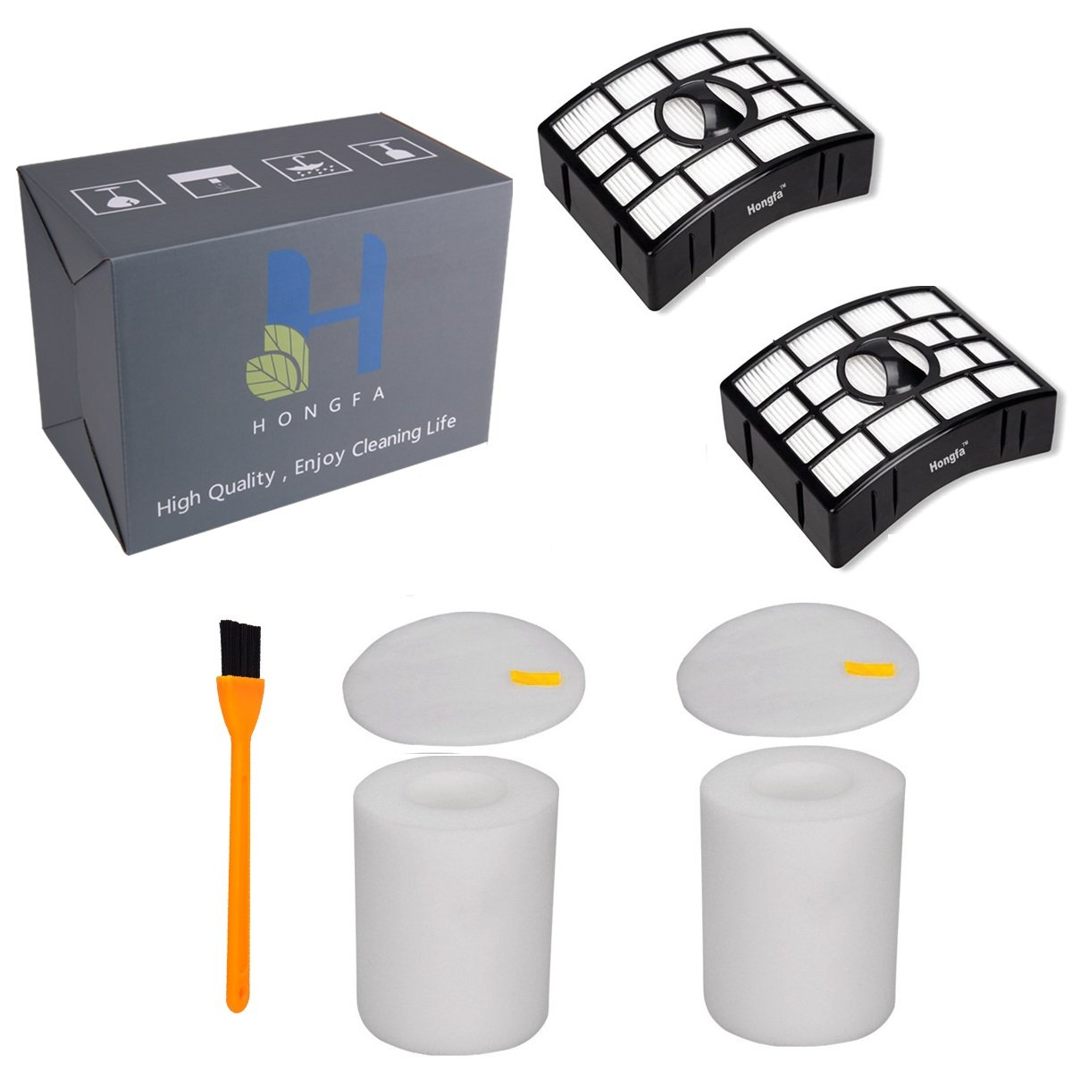 Hongfa 2 Set For Shark NV755 & UV795 HEPA Filter and Foam Felt Filter Only,(Not Fit NV500 NV650,NV750 NV680 Series),Replacement Shark Rotator Powered Lift-Away Parts and 1pcs Free Cleaning Brush