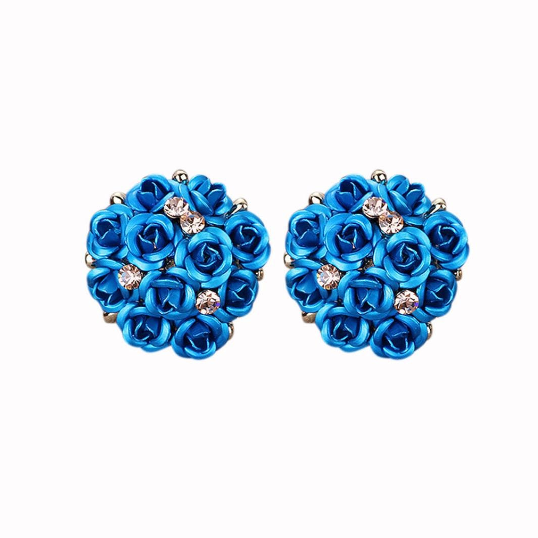 Minshao Fashion Jewelry Bohemia Flower Rhinestone Earrings for Women Summer Style (G)