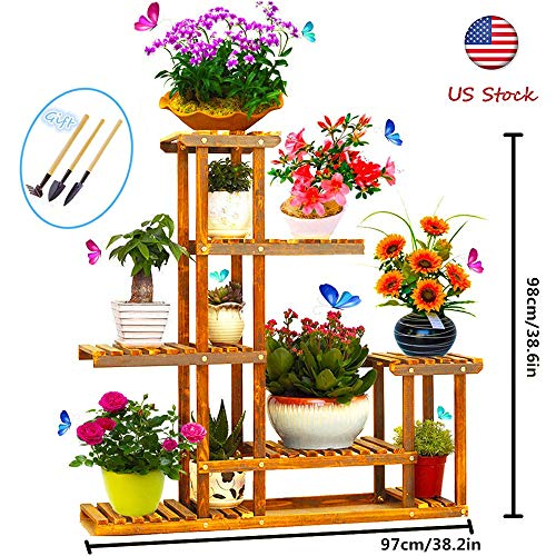 hebensi Wooden Plant Flower Display Stand Wood Pot Shelf Storage Rack Outdoor Indoor 10 Pots Holder 38.2x9.8x38.6 in