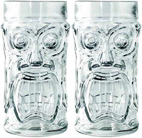 Set of 2 Anchor Hocking Glass Screaming Tiki Glasses