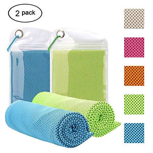 Ankua Cooling Towel 2 Pack (40x12) Instant Chilling Relief Cold Towels Ice Towels for Yoga, Fitness, Running, Camping, Travel Workout and Outdoor Sports-Blue & Green