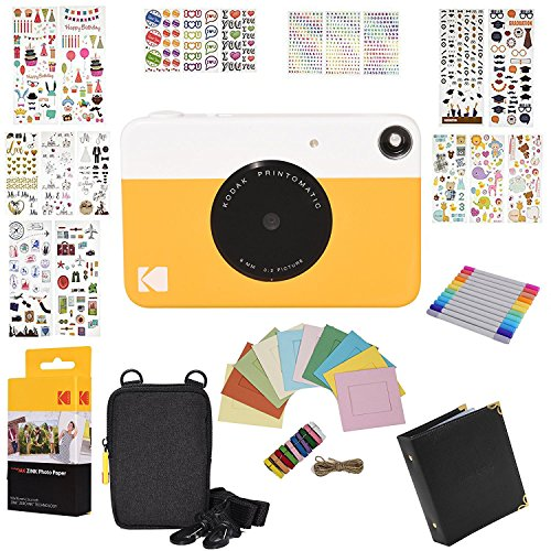 Kodak Printomatic Instant Camera Gift Bundle + Zink Paper (20 Sheets) + 9 Unique Colorful Sticker Sets + Case + Markers + Hanging Frames + Photo Album + Accessories