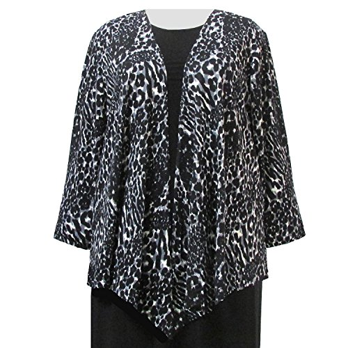 A Personal Touch Women's Plus Size Grey Leopard Drape Cardigan Sweater - 6X