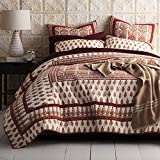 DaDa Bedding Paisley Cotton Quilt - Tear Drop Rubies Quilted Coverlet Bedspread Set - Red Floral Print - King - 3-Pieces