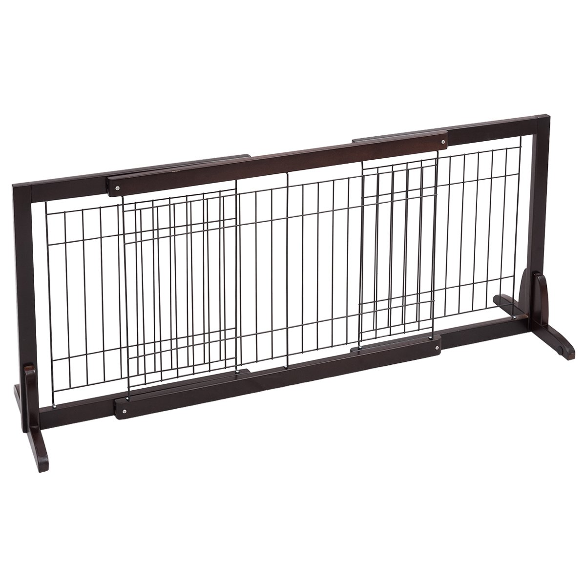 Giantex Free Standing Wood Dog Gate Adjustable Pet Safety Fence Indoor