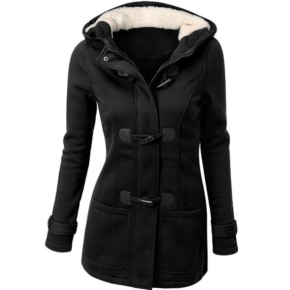 Women's Hooded Coat,Toponly Women Long Seelves Thick Plus Size Horns Buckle Hooded Coat (Black, XL)