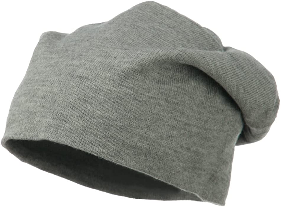 5a5e61e12e4 Amazon.com  Otto Caps Big Size Knit Slouch Beanie - Heather Grey OSFM   Clothing