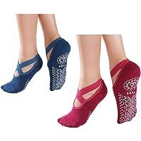 Alitopo Calcetines antideslizantes de yoga para mujer, calcetines antideslizantes de pilates para mujer, calcetines de…