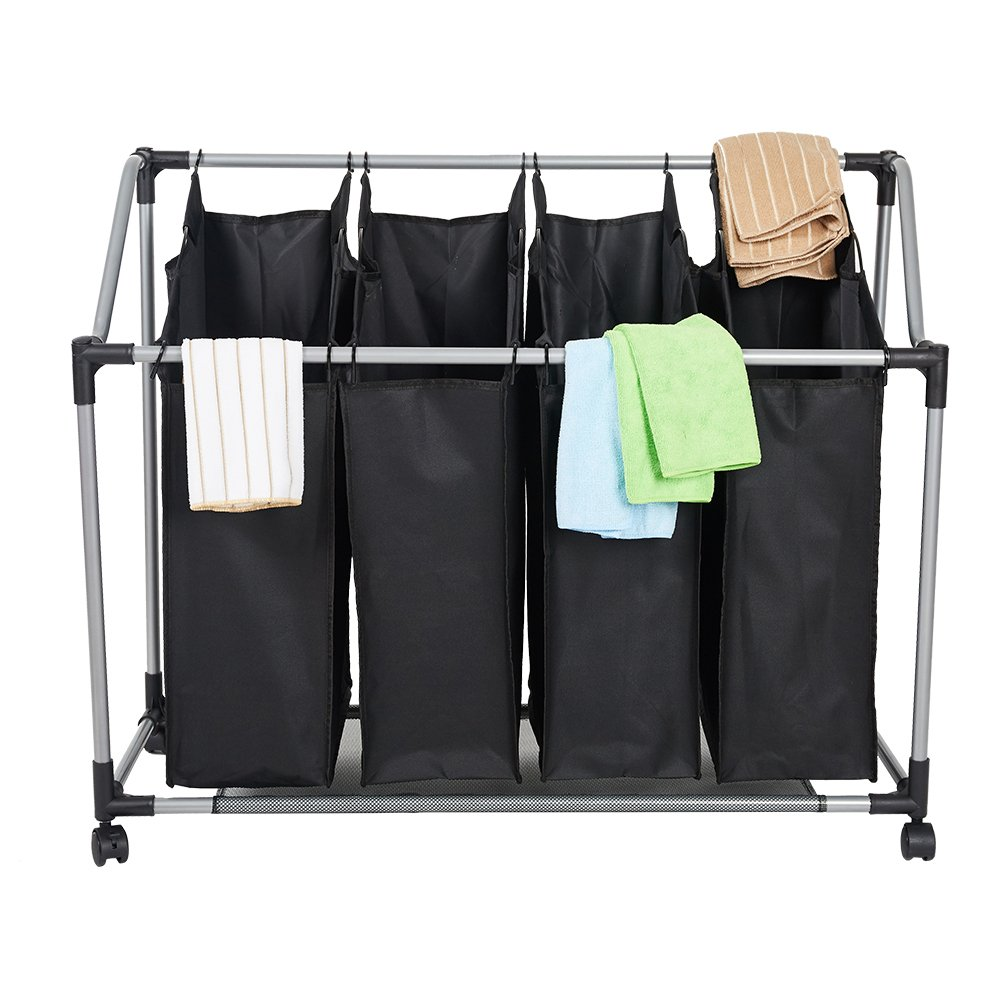 Dporticus Heavy-Duty 4-Bag Rolling Laundry Sorter Storage Cart, Bag Laundry Organizer with Wheels(Black)