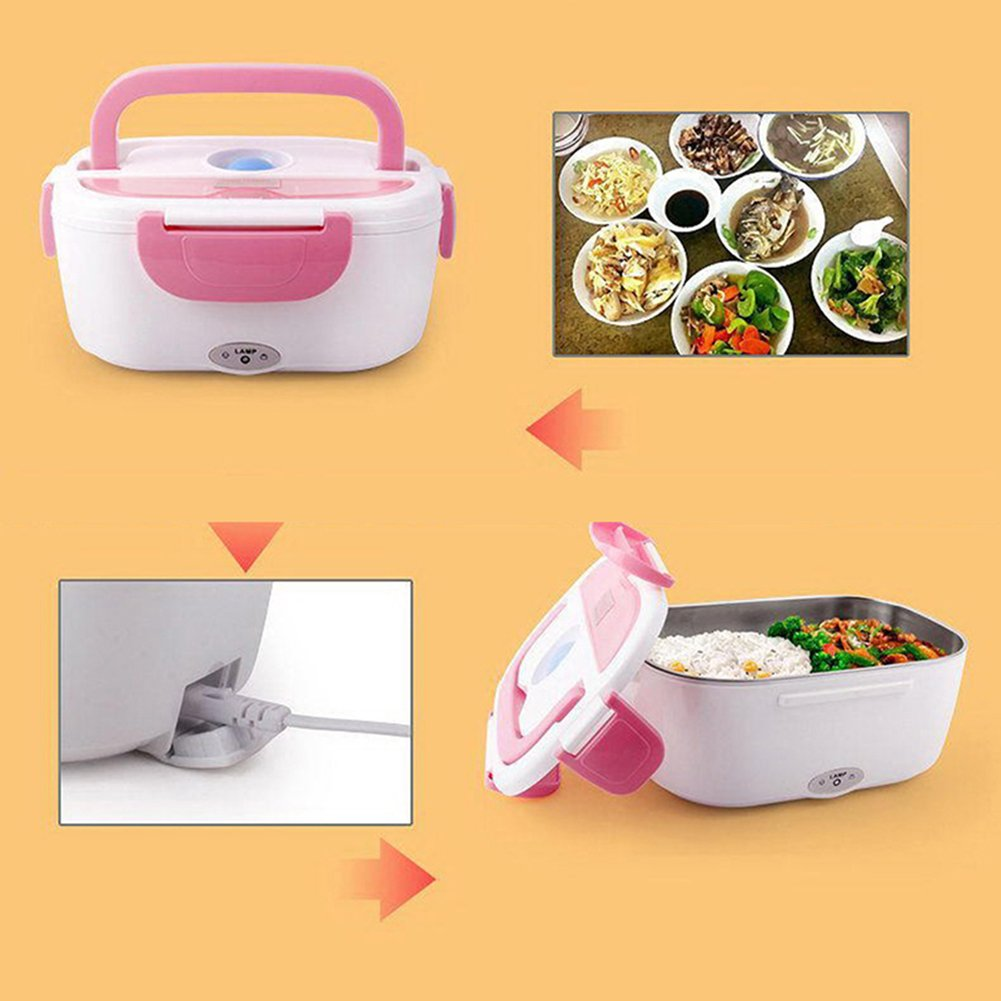 Zehui Portable Bento Meal Heater Food Warmer Container Electric Heating Lunch Box Blue