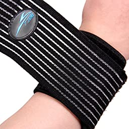FIRELION Sports Adjustable Wrist Straps Wraps Support Brace Belt Protector for Weightlifting Crossfit Powerlifting,Black,One Size